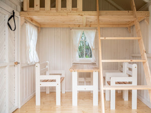 Furniture of Kids Playhouse Plum |one bench, two chairs and a table in kids size by WholeWoodPlayhouses