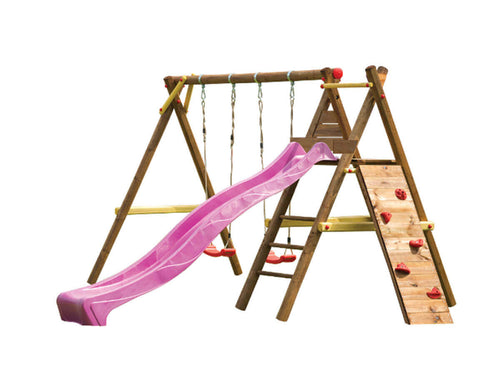 Kids outdoor playset Bosse with a slide, climbing wall and two swings on white background by WholeWoodPlayhouses