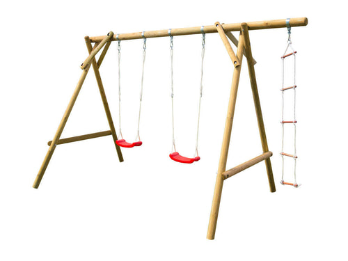 Kids outdoor swingset Magnus with two swings and a rope ladder by WholeWoodPlayhouses on white background