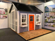 Load image into Gallery viewer, Kids  Wooden Playhouse Boy Cave with grey sides and red door  by WholeWoodPlayhouses