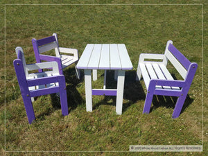 White and purple kids furniture set with a table, bench and two chairs | Kids furniture set by WholeWoodPlayhouses