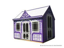 Load image into Gallery viewer, Kids playhouse Classy Vicky on white background | purple princess indoor playhouse by WholeWoodPlayhouses