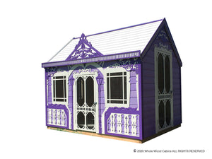 Kids playhouse Classy Vicky on white background | purple princess indoor playhouse by WholeWoodPlayhouses