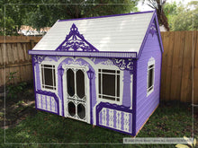 Load image into Gallery viewer, Outside of kids playhouse Classy Vicky, right side | purple princess indoor playhouse by WholeWoodPlayhouses