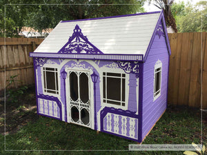 Outside of kids playhouse Classy Vicky, right side | purple princess indoor playhouse by WholeWoodPlayhouses
