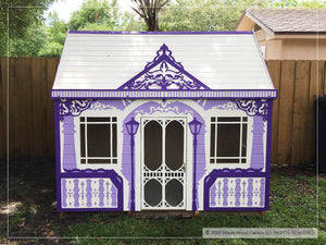 Outside of kids playhouse Classy Vicky from the front| purple princess indoor playhouse by WholeWoodPlayhouses