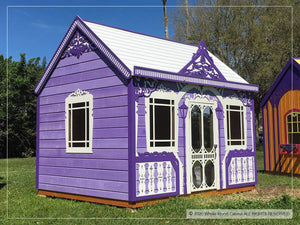 Outside of kids playhouse Classy Vicky, left angle | purple princess indoor playhouse by WholeWoodPlayhouses