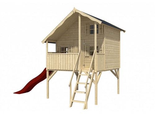Front outside view of assembled wooden kids playhouse DIY Kit Little Fun Clubhouse on legs with a terrace, stairs and a red slideon white background | outdoor playhouse DIY kit by WholeWoodPlayhouses