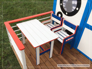 Kids furniture set of table and two chairs on boat themed kids playhouse Marine Max terrace by WholeWoodPlayhouses