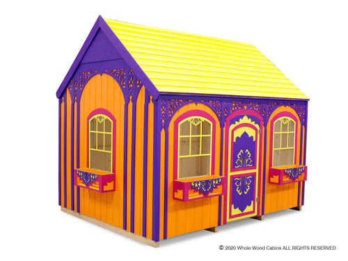 Outside of kids playhouse Sassy Sally on white background | colorful princess indoor playhouse by WholeWoodPlayhouses