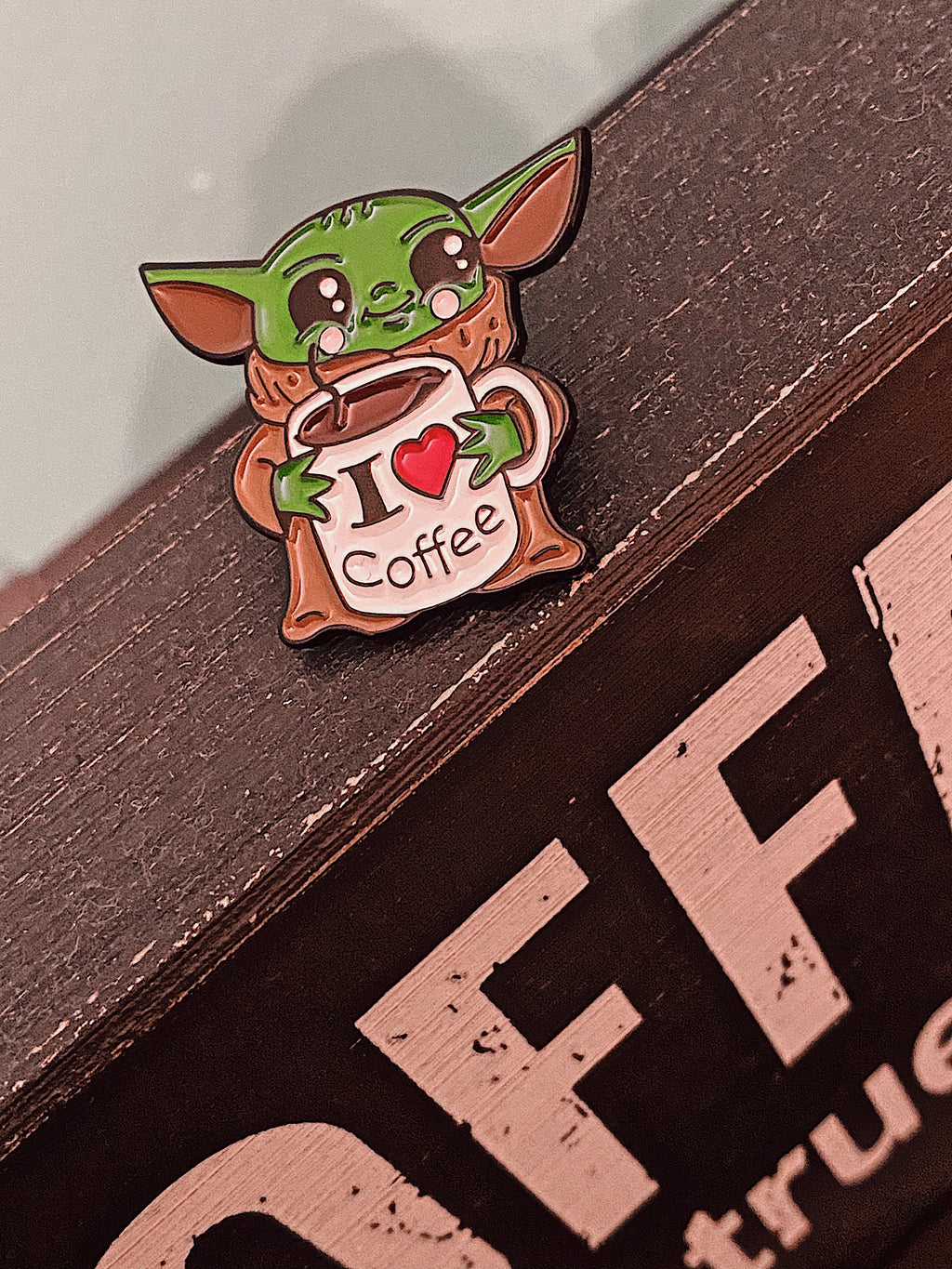 Baby Yoda I Love Coffee Enamel Pin