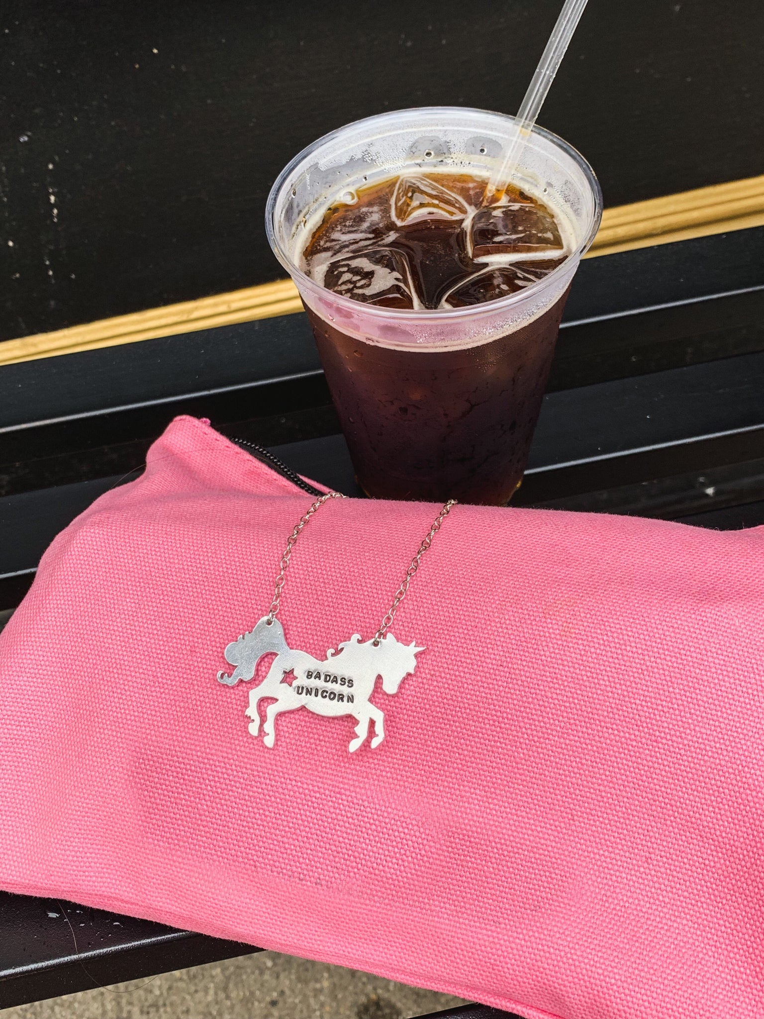 Badass Unicorn Silver Stamped Necklace