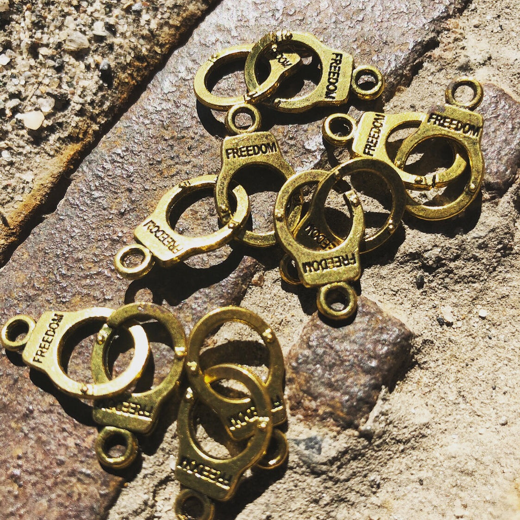 FREEDOM Golden Handcuff Charms Set