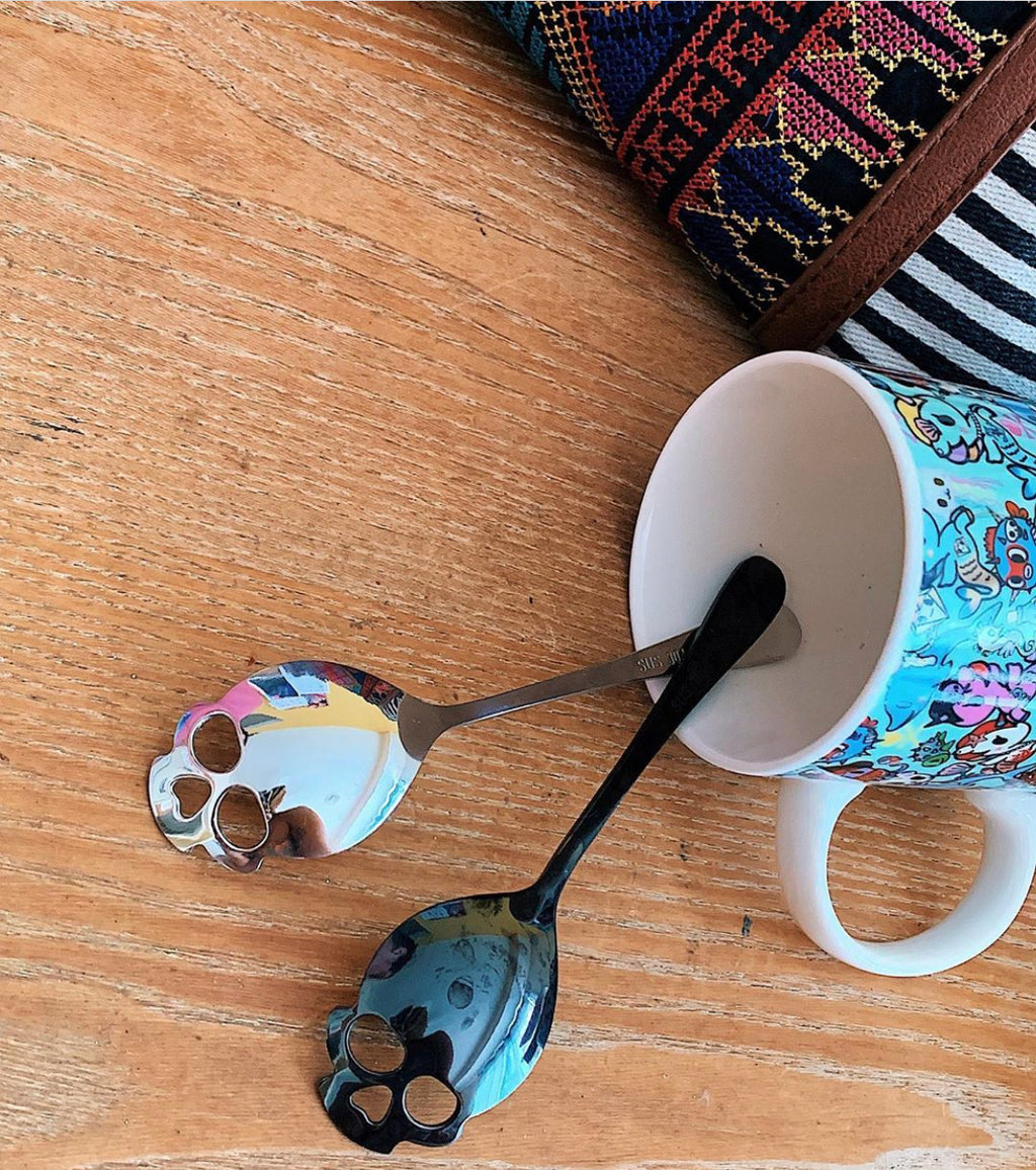 New! Skull Tea and Espresso Spoons Set