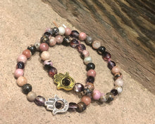 Load image into Gallery viewer, Hamsa Bohemian Energy Pink/Black Beaded Bracelet