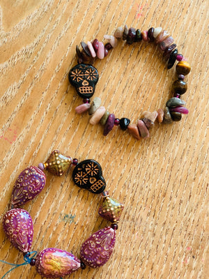 Sugar Skull Baroque Beads Bracelet One of a Kind
