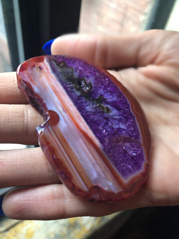 Large Two Tone Stripe Purple Agate Slice Pendant DIY