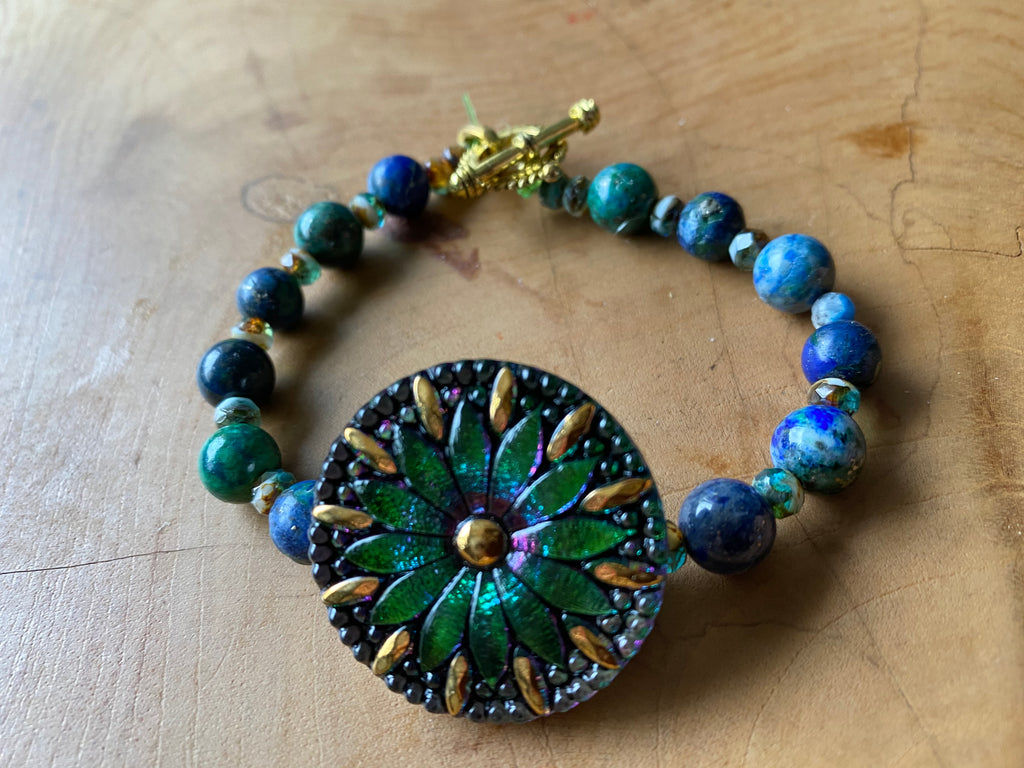 Sunlight Medallion Bracelet with Cobalt Beads - One of a Kind!