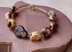Sugar Skull Brown Print Beads Bangle Bracelet NEW
