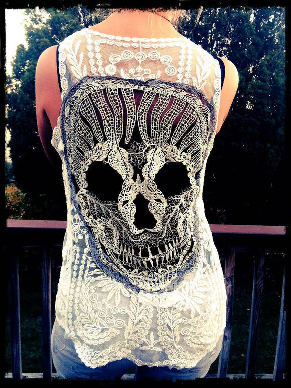 BEST SELLER Sugar Skull Black White Embroidered Tank Top