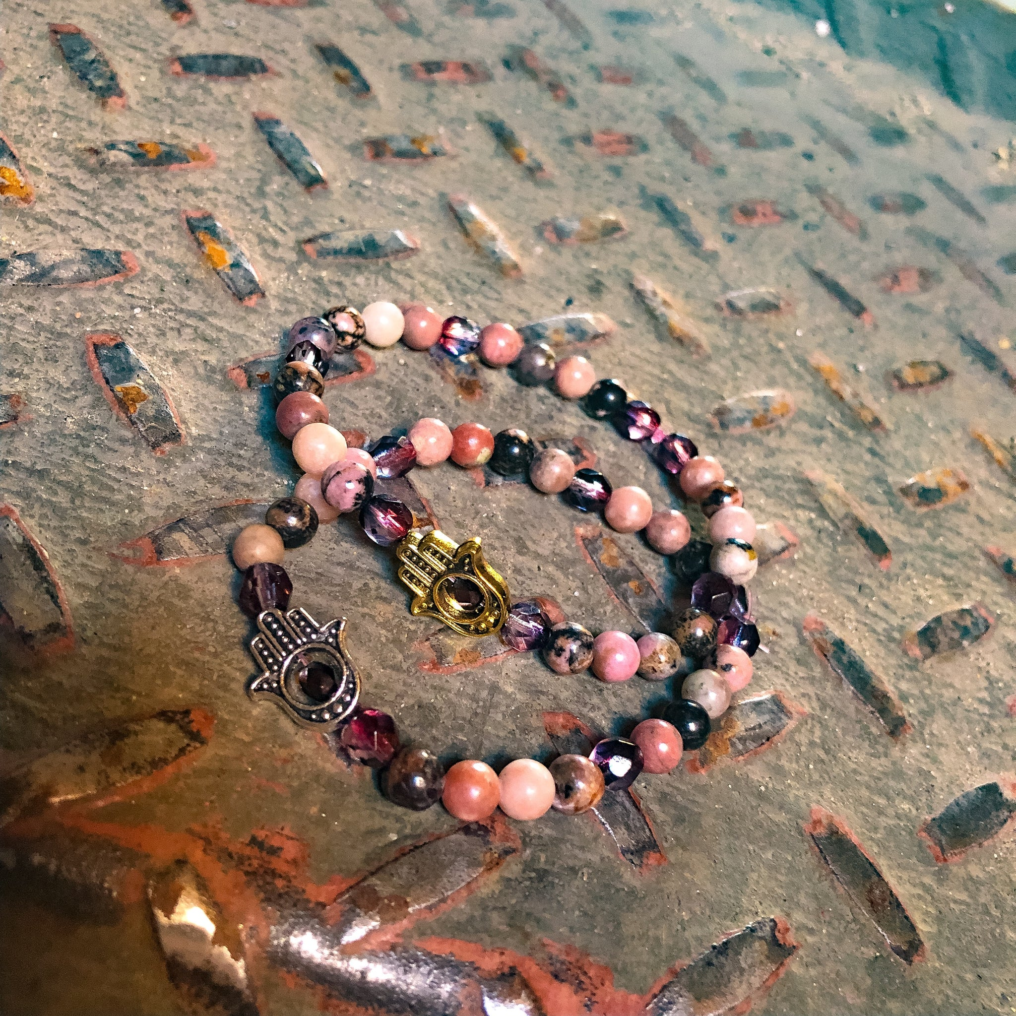 Hamsa Bohemian Energy Pink/Black Beaded Bracelet