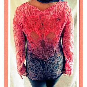 Sugar Skull Lace Ombre Tunic - Pink Charcoal