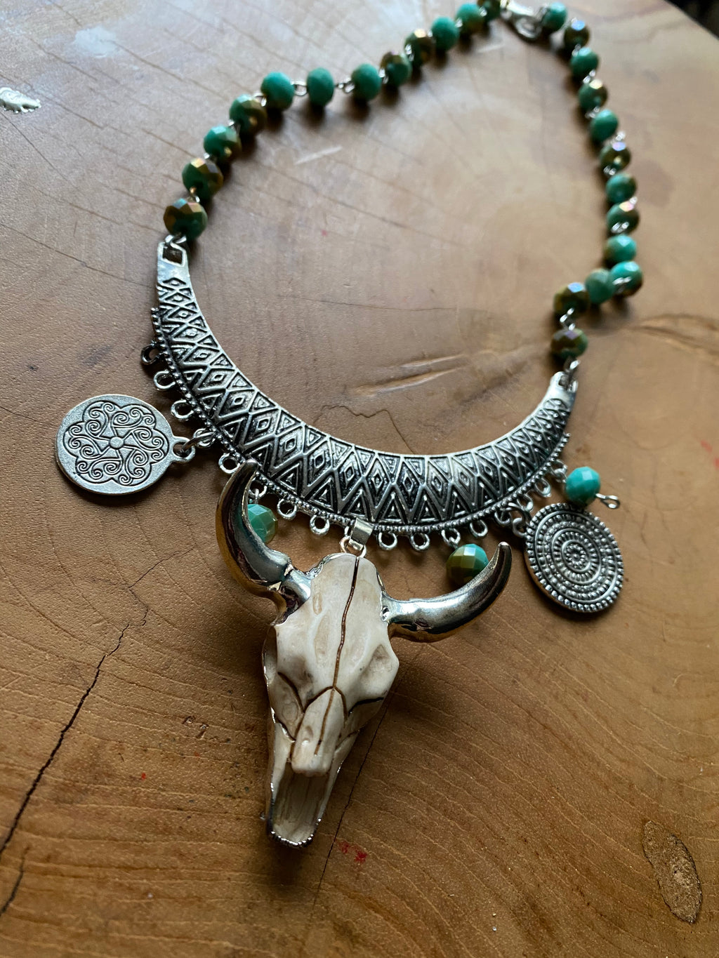desert cowgirl bull necklace