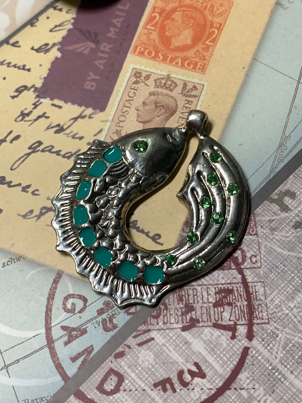Pisces Fish Style Turquoise Silvertone Pendant Charm for DIY
