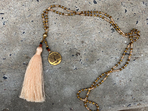 Tree of Life Beaded Tassel Necklace in Golden