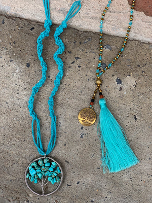 Tree of Life Beaded Tassel Necklace in Turquoise