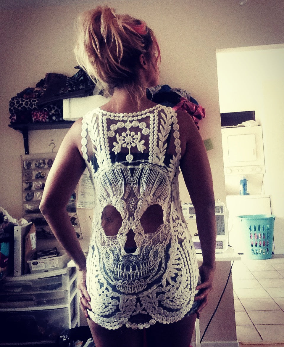 Original Sugar Skull All White Embroidered Tank Top