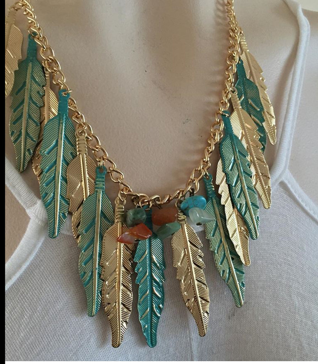 Bohemian Feathers Necklace - Seafoam Gold