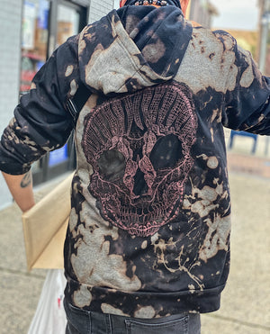 Graphite Skull Hoodie Sweatshirt Black/Grey NEW