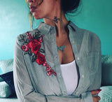 Roses Pinstripe Button Up Blouse