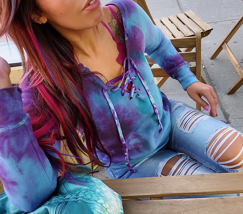 Creative Life Tie Dye Sweatshirt with Lace Up Front