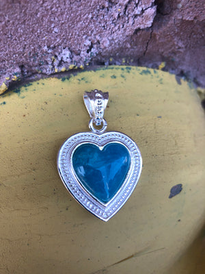 Turquoise Heart Charm in Silver Frame DIY Pendant