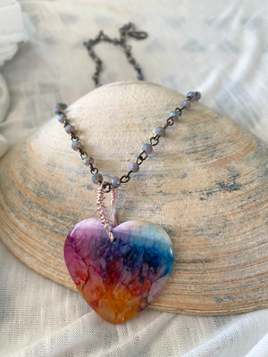 Chameleon Multicolor Rainbow Heart Agate Necklace w/ Interchangeable Chain