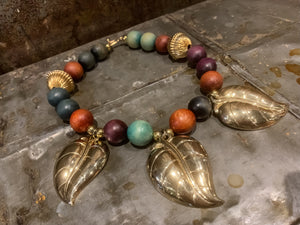 Vintage Art Deco Inspired Leaf Statement Necklace
