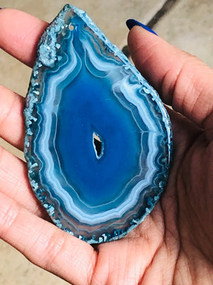 Deep Blue Agate Slice Polished DIY Cabochon