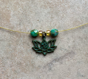 Lotus Flower Beaded Charm Necklace Gold Plated Wire