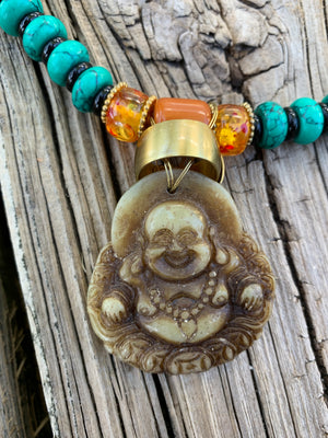 Charming Buddha Carved Charm Necklace One of a Kind
