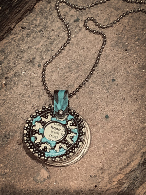 Hope Storybook Vintage Inspired Handmade Pendant on Ball Chain