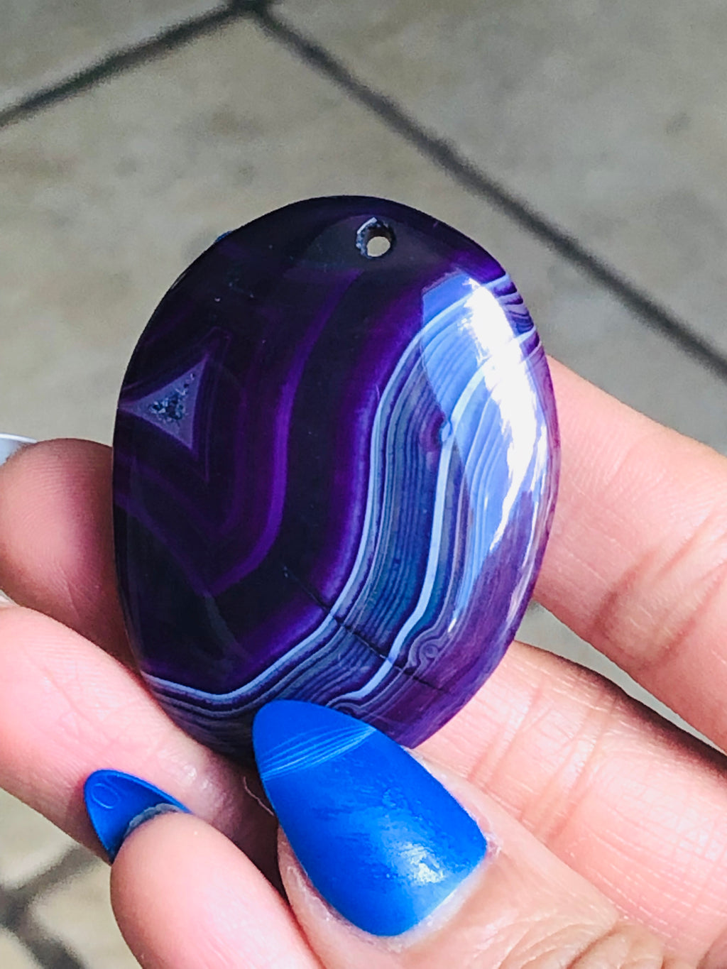 Purple Stripes Oval Agate Onyx Pendant Cabochon