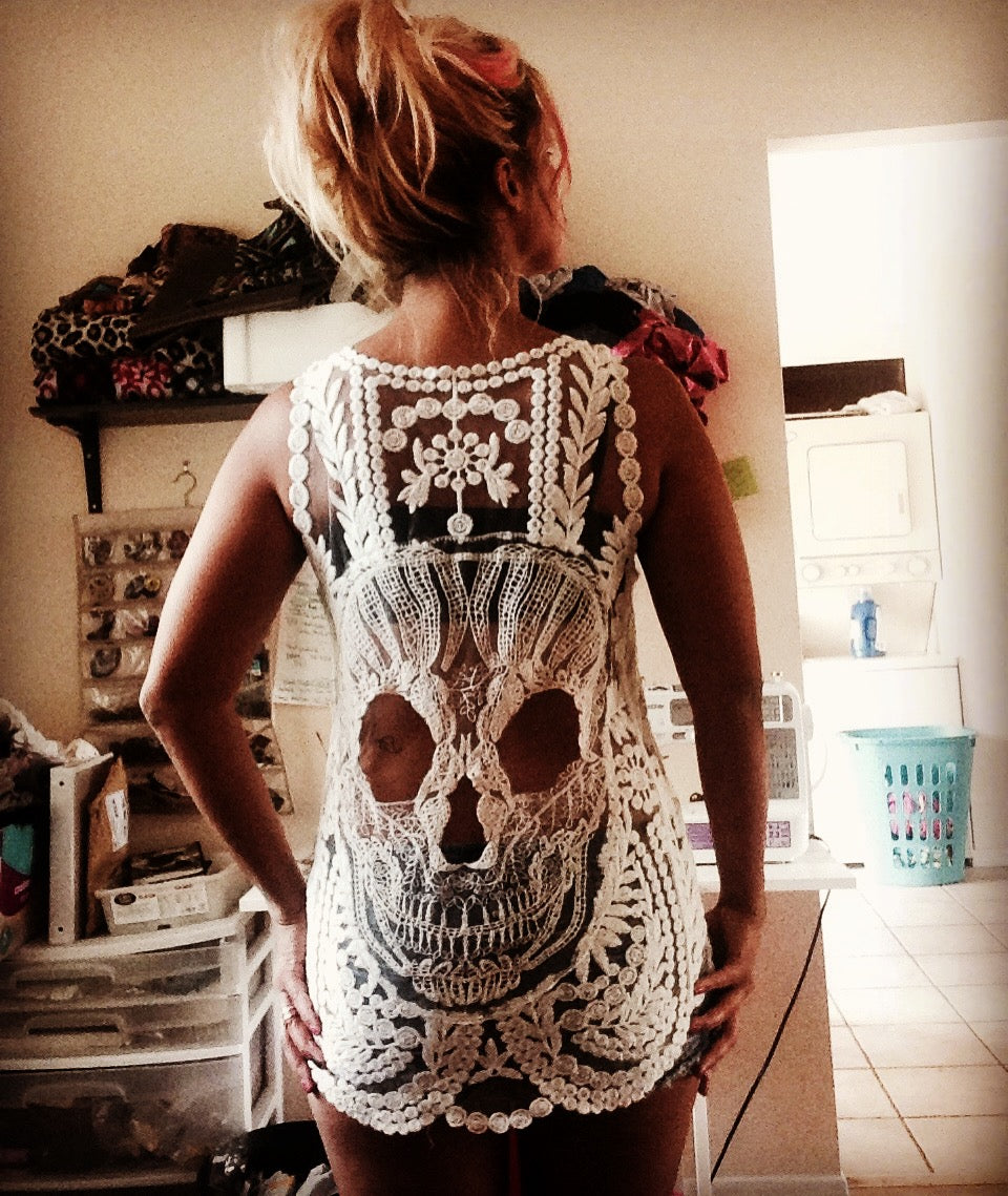 LIMITED TIME! Sugar Skull Black White Embroidered Tank Top