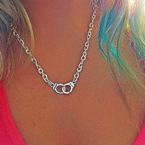 Freedom Handcuff Necklace in Silvertone Metal
