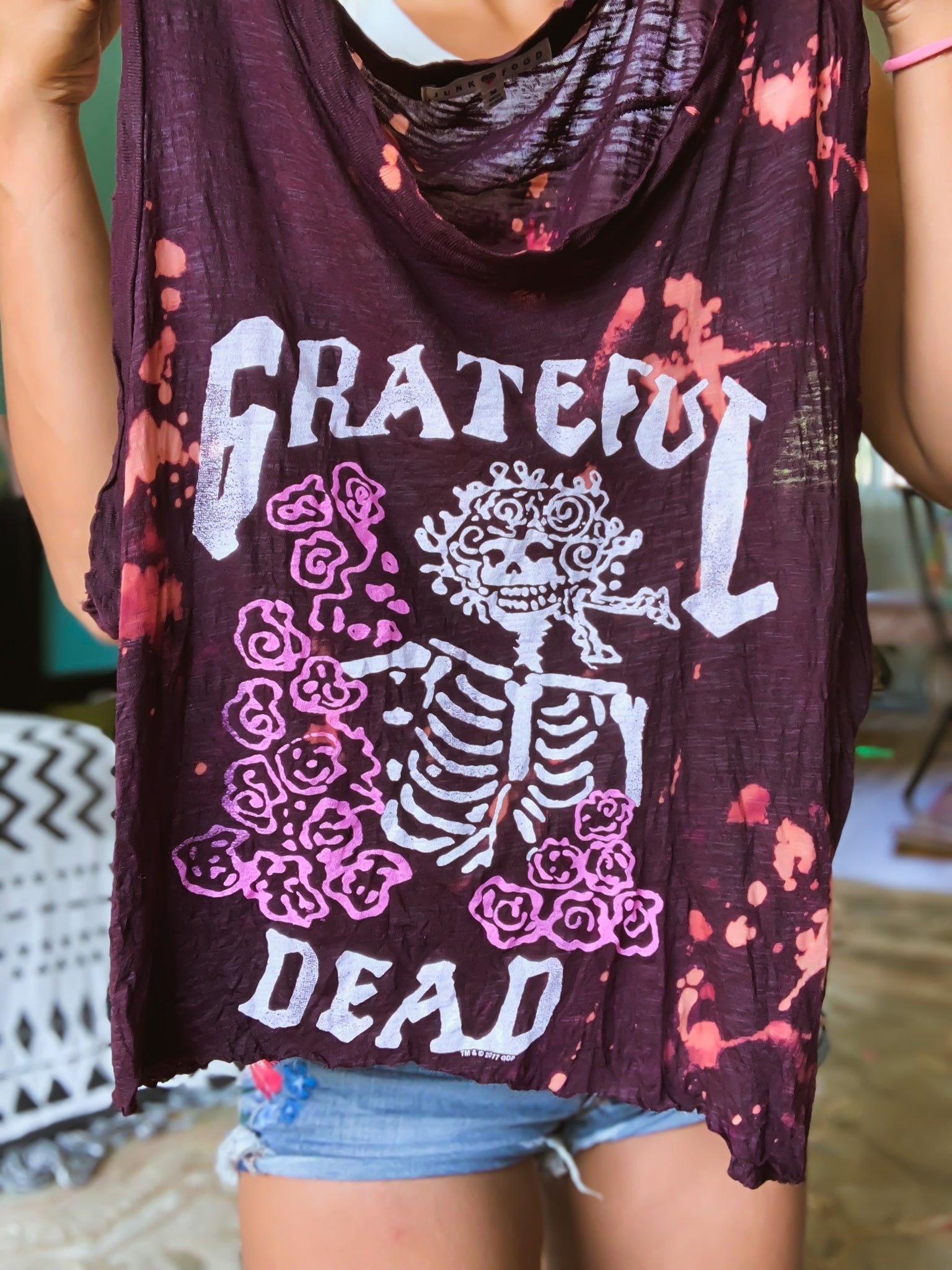 Grateful Dead Distressed Cropped Sleeveless Tee