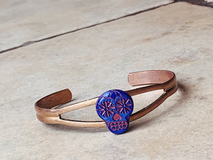 Sugar Skull Cuff Bracelet in Purple/Bronze  NEW