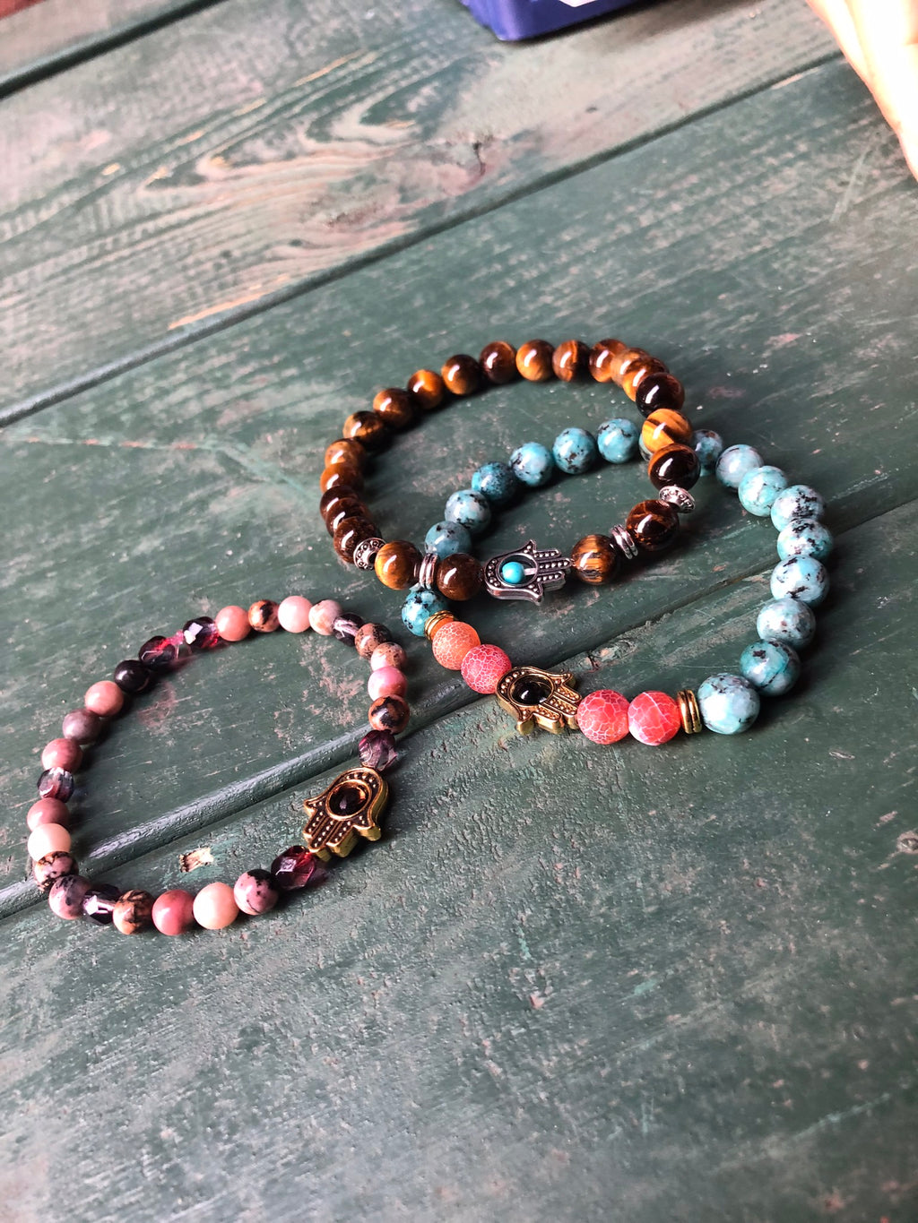 Hamsa Color Stones Bracelet Stack (Set of 3)