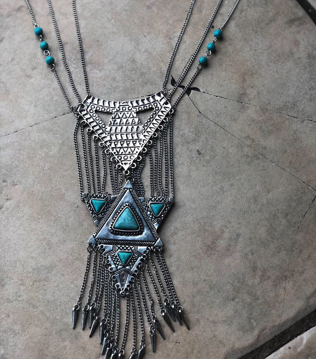 Southwest Geometric Fringe Statement Necklace
