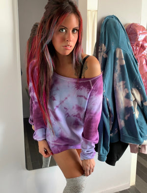 Ariana Purple Tie Dye Off Shoulder Sweatshirt